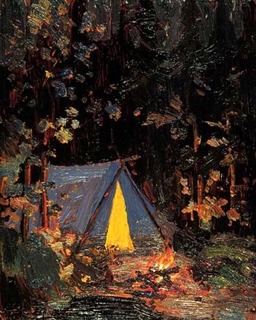 Now compare the exquiste painting of a Canadian campfire scene with    Campfire Painting